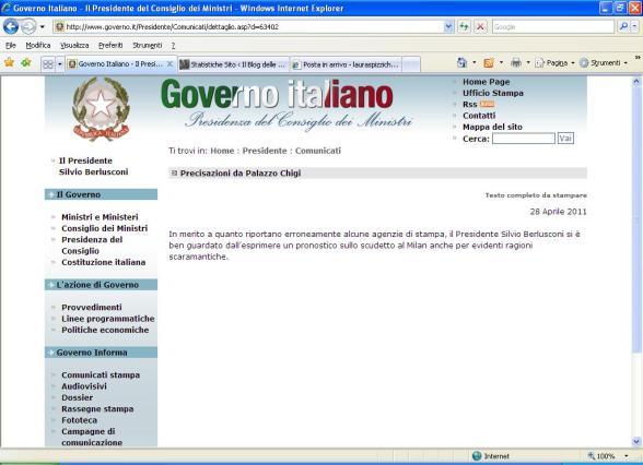 dal sito del governo italiano il blog delle ragazze